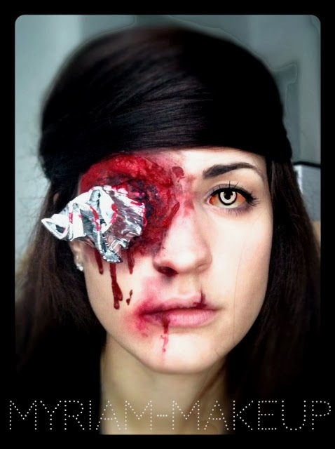 Maquillage Halloween oeil crevé